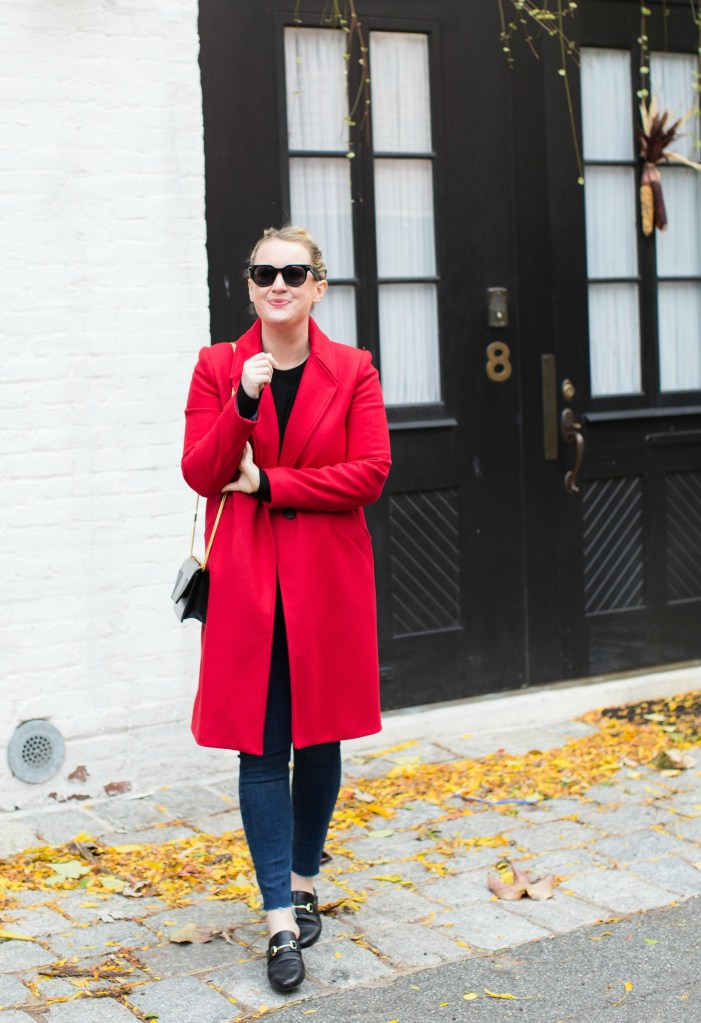 Meghan Donovan styles a red coat