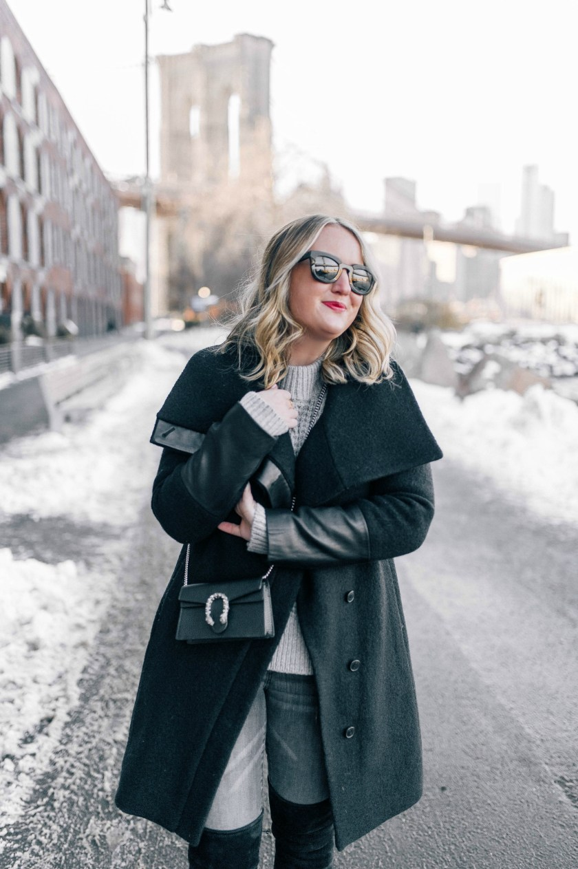 Leather Trimmed Club Monaco Coat on Meghan Donovan of wit & whimsy
