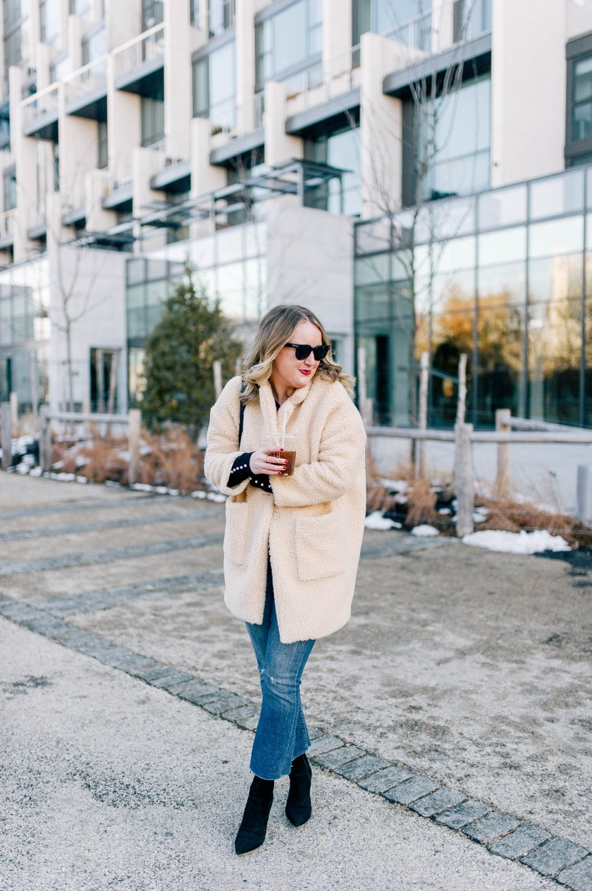 Teddy Coat and Kick Flares on Meghan Donovan of wit & whimsy