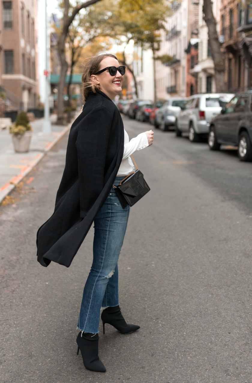Navy Coat & Kick Flare Jeans I wit & whimsy
