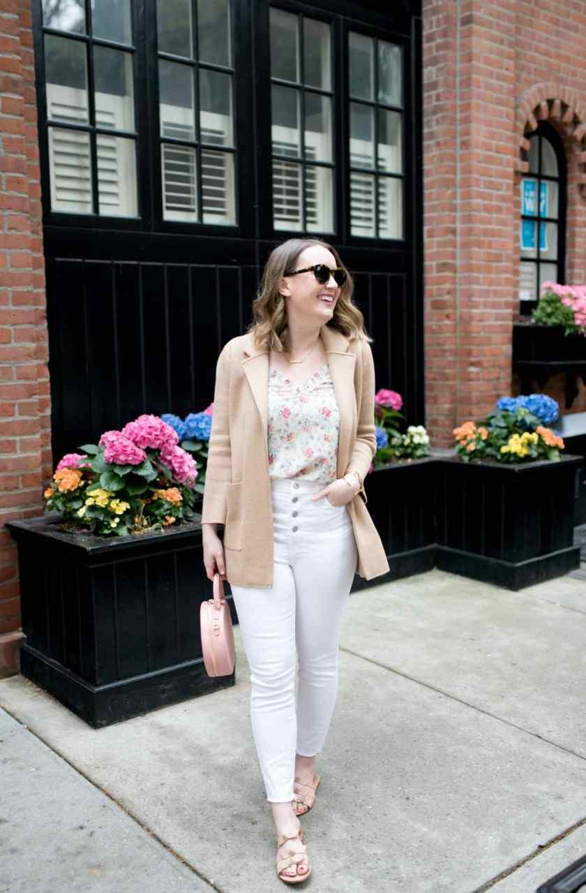 Floral Tank + White denim I wit & whimsy