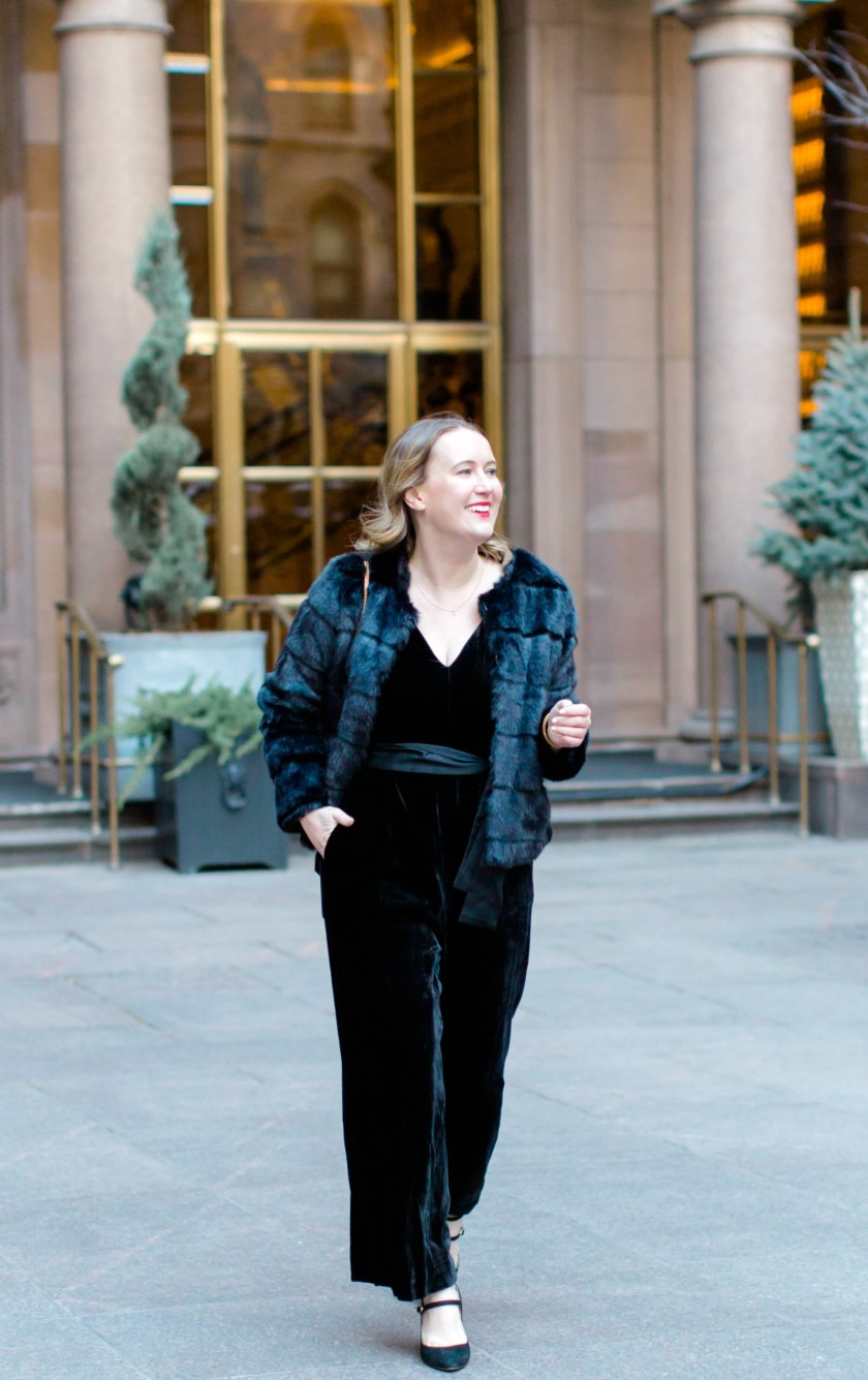 Velvet Jumpsuit and Faux Fur Jacket I wit & whimsy
