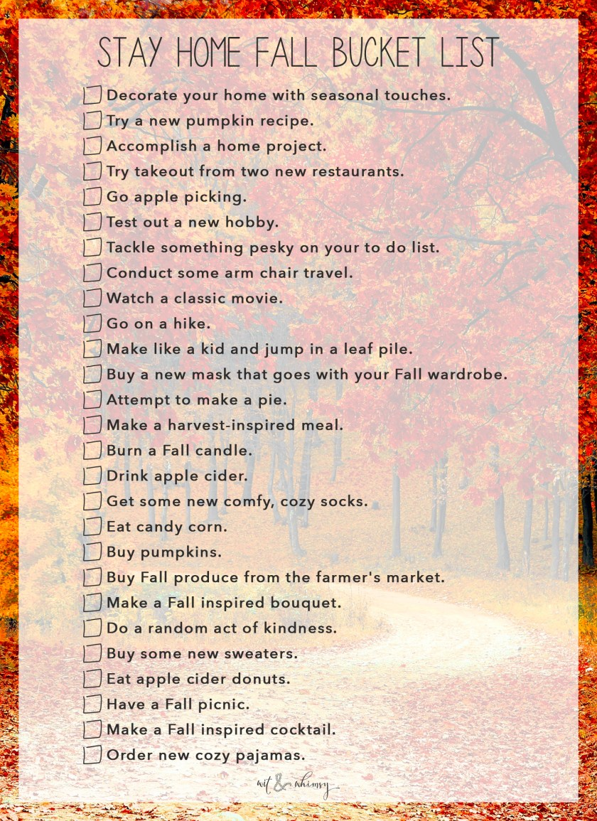 Stay Home Fall Bucket List I wit & whimsy