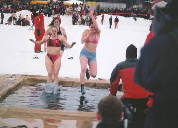 Crazy Canadians, swimming in February.