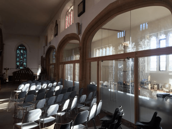 The south aisle and bays ready for a service, taken from the kitchen end