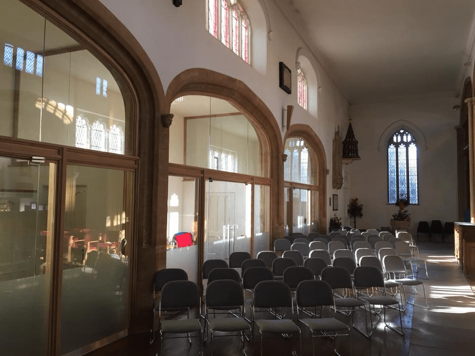 The south aisle and bays ready for a service, taken from the vestry end