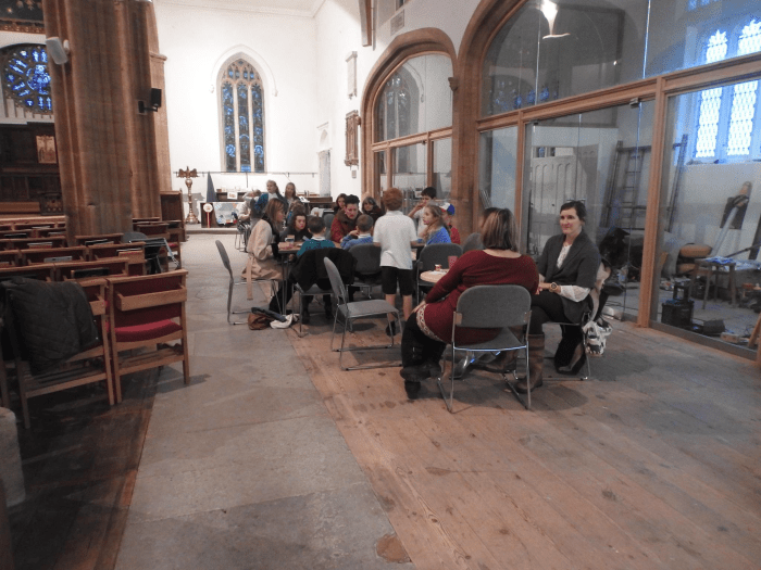 The south aisle and bays set out for Messy Church refreshments