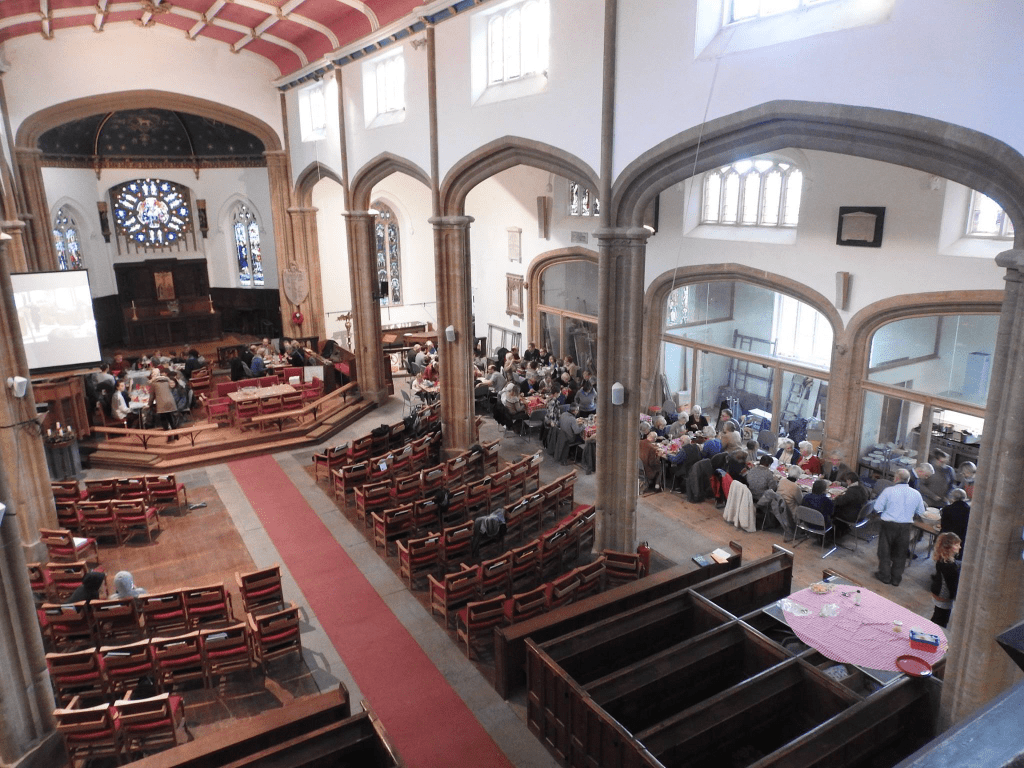 A church lunch, taken from the organ loft