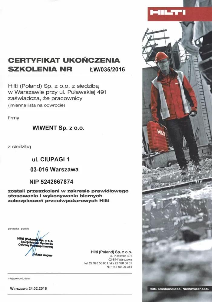 Wiwent certyfikat - Hilti