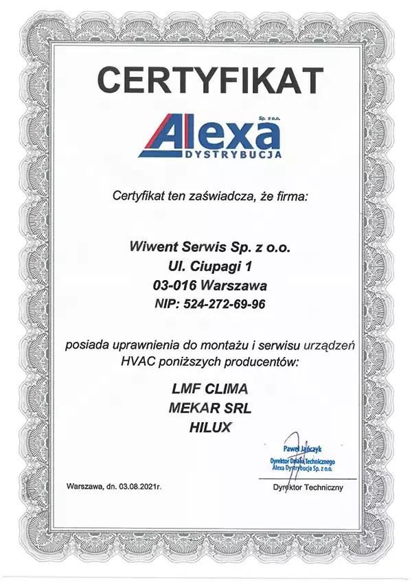 WIWENT Certyfikat serwisu