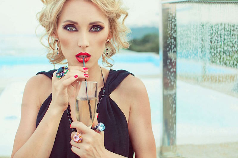 Aida Nikolaychuk posing for a magazine