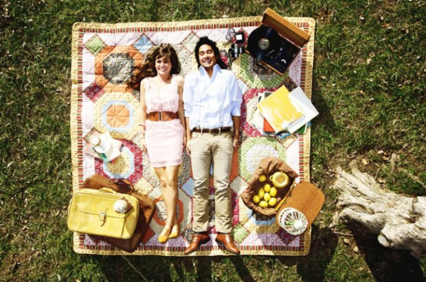 Beat Stress Picnic Baskets Lemons Blanket Outdoors Man and Woman Romantic Picnic