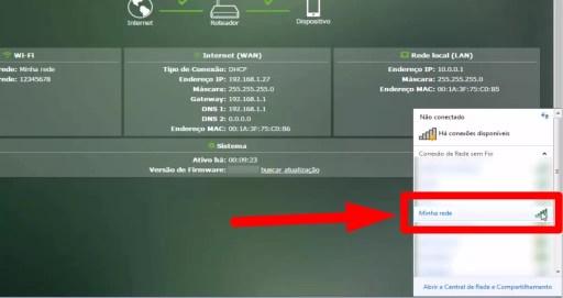 Imagem mostra rede wifi sendo detectada após configuração