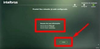 Imagem mostra tela do assistente intelbrás afirmando que o roteador está configurado