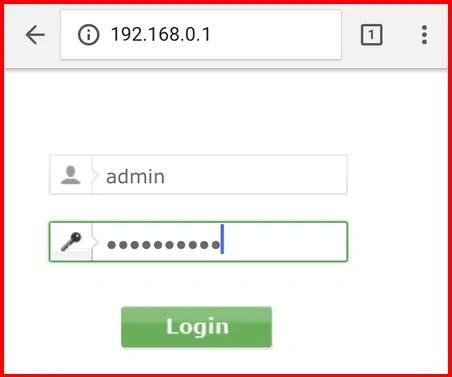 Imagem mostra um navegador aberto com o endereço http://192.168.0.1 sendo acessado