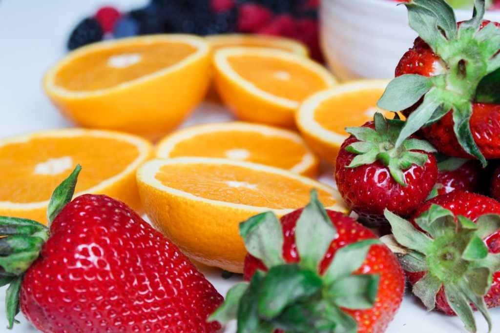 Strawberries and orange slices