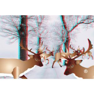 3D EFFECT Augmented Reality Deer Christmas Greetings Card