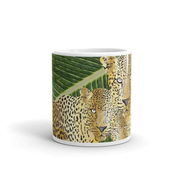 Leopards on Green Leaves Mug