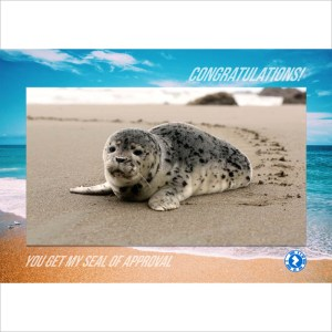 seal of approval congratulations AR Greeting Card