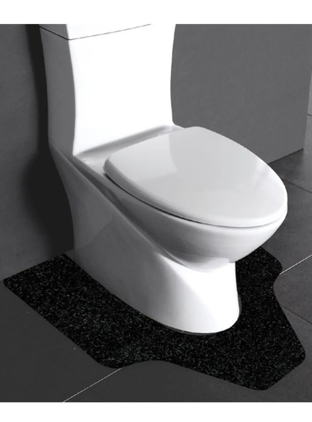 Black WizKid Products Antimicrobial Commode Mat Installed Below A Commercial Toilet