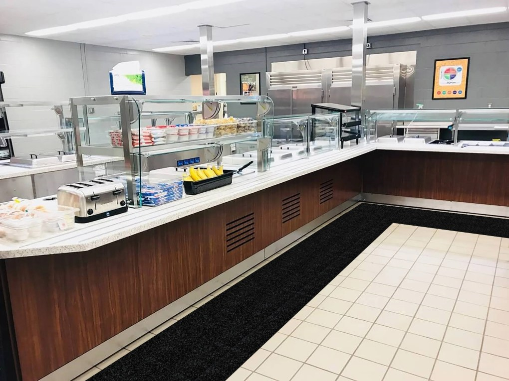 WizKid Products Antimicrobial Runner Mat in Cafeteria Food Service Area