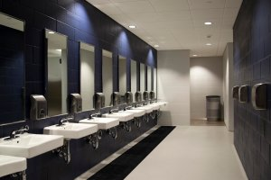 WizKid Products Antimicrobial Runner Mat Installed In Stadium Restroom
