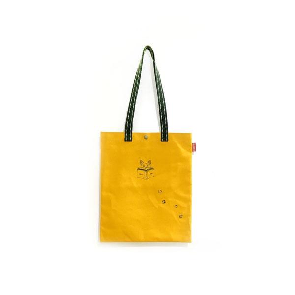 新學林「貓也愛閱讀」合成帆布包(蜜柑橘)