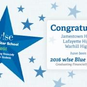 WJCC High Schools Named 2016-16 w!se Blue Star Schools