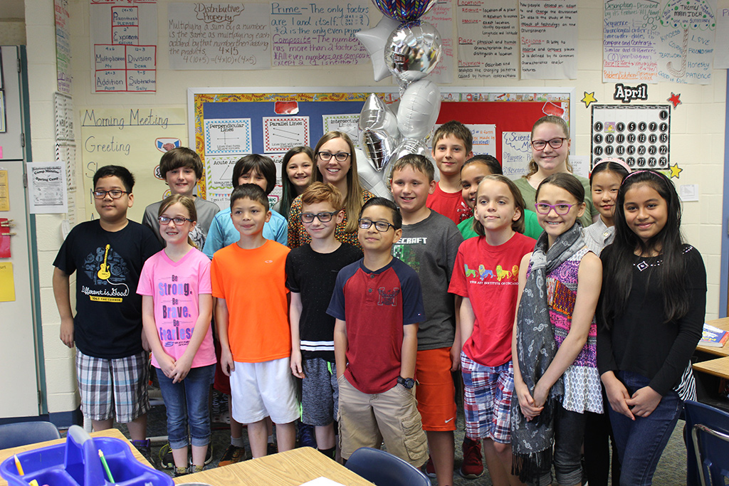 Elementary School Teacher of the Year with students