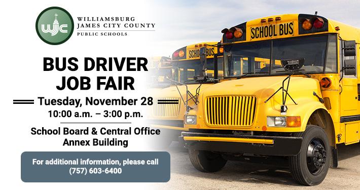 Bus Driver Job Fair - Tuesday November 28 - 10 a.m. to 3 p.m.