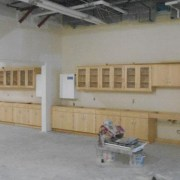 Casework installed in the science lab