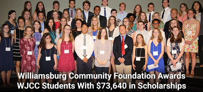 Williamsburg Community Foundation Awards WJCC Students With $73,640 in Scholarships