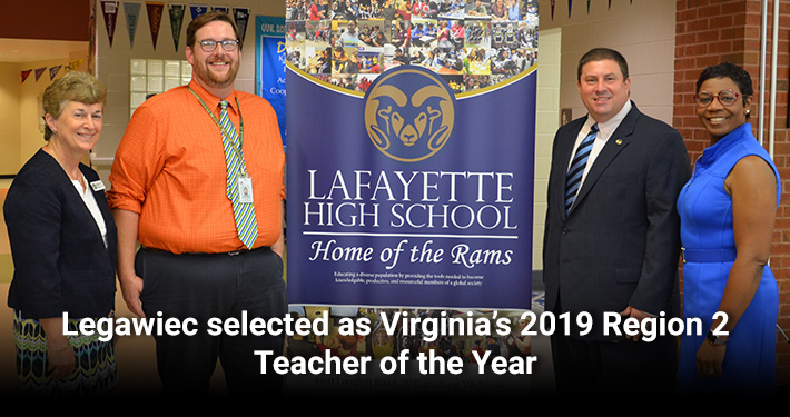Legawiec selected as Virginia's 2019 Region 2 Teacher of the Year