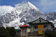 Z okolic Tengboche najlepiej widac Mt. Everest, pozniej jest zasloniety pasmem gor.