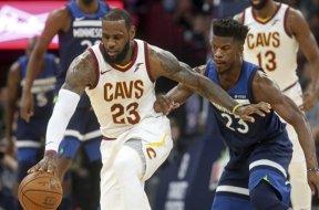 Cavs LeBron James Wolves Jimmy Butler AP