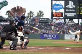 Brewers Jesus Aguilar swings SF AP