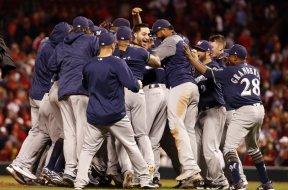 Brewers celebrate playoffs AP