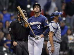 Brewers Braun holds bat AP