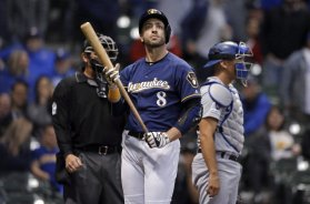 Brewers Braun holds bat AP
