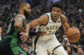 Bucks Giannis Celtics Marcus Morris AP