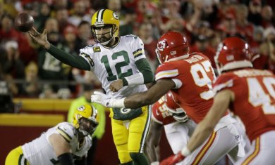 Packers Aaron Rodgers v Chiefs AP