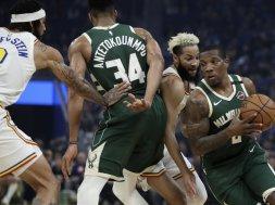 Bucks Bledsoe Giannis vs. Warriors AP