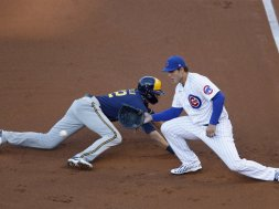Cubs Rizzo Brewers Yelich AP