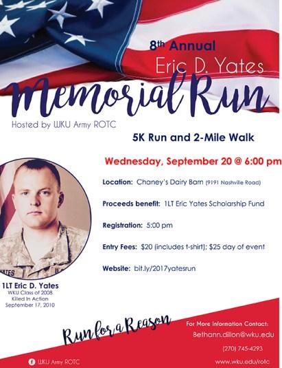 The 8th Annual Eric D. Yates Memorial Run will be held Sept. 20.