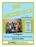 Register now for Summer Camp at the Kentucky Museum.