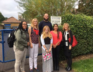 Dr. Lisa Murley visited Denton Primary School in Grantham, England, with Dr. Kay Gandy's Harlaxton College education students.