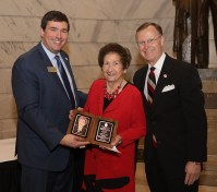 Kentucky Teacher Hall of Fame inductee Opal T. Sibert (center) was congratulated by Education Commissioner Stephen Pruitt (left) and WKU President Gary A. Ransdell (right). (WKU photo by Bryan Lemon)