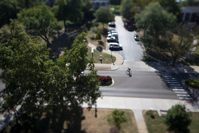 A cyclist bikes up the hill on Avenue of Champions between class changes on Tuesday, Sept. 22. In 2013 WKU received a bronze level certification for bike friendliness from the League of American Bicyclists. JAKE POPE