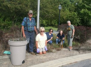 Nancy Dembowski's callout for help in cleaning up the Gateway area in Knox was answered by talented gardeners who brought rakes, pruning shears, whippers, kneeling pads, gloves, etc., for the job.  Those arriving early to help were, left to right:  Ed Reiss, Carol Blastic, Mary Perren, Julia Ford, and Nancy Dembowski.  Others joined in the cleanup later.