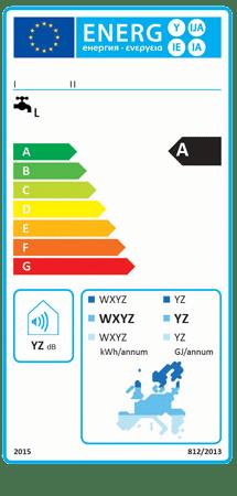 Stara etykieta energetyczna dla zestawów zawierających słoneczne systemy podgrzewania wody